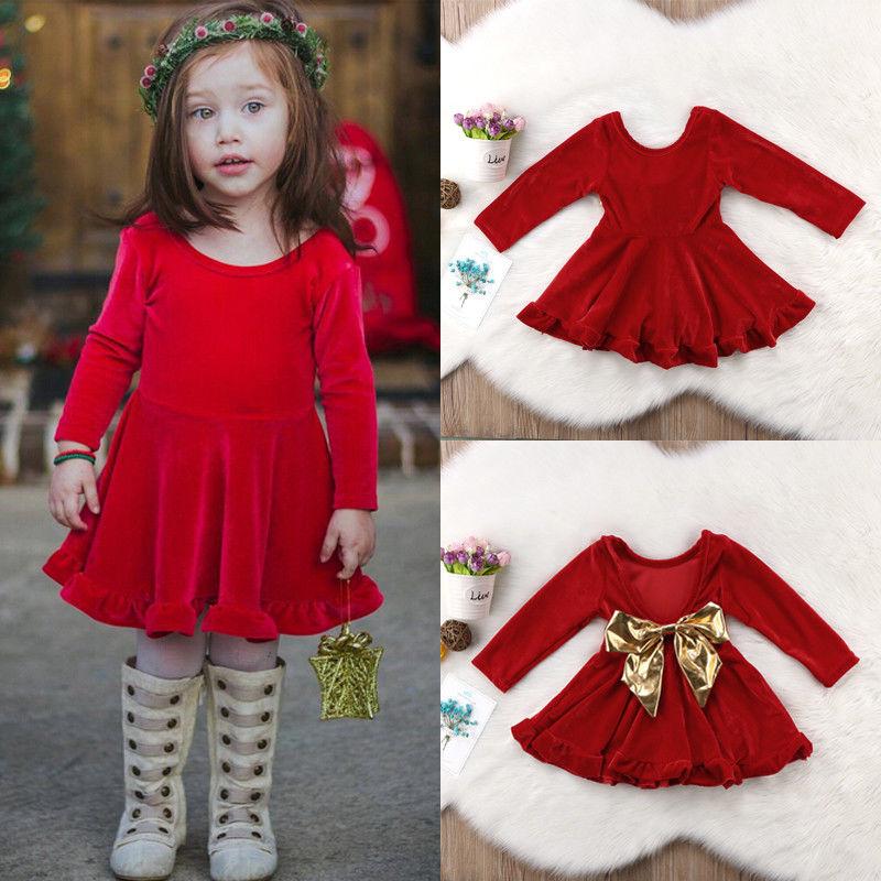 3bbf5645ec53 Christmas Kid Baby Girls Red Velvet Bow Dress Long Sleeve Autumn ...