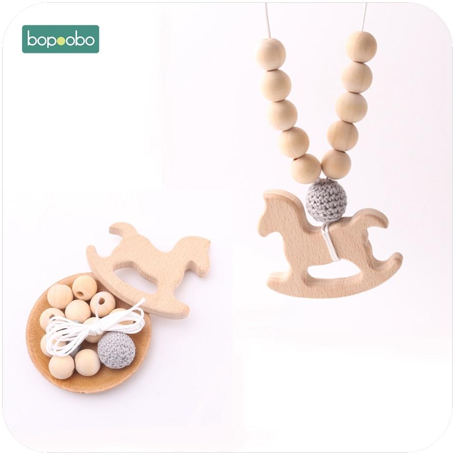 Bopoobo 1set Wooden Trojan Teether DIY Set Crochet Beads Mommy Hands-on Baby Birthday Gift  BPA Free DIY Bracelet Baby Teether