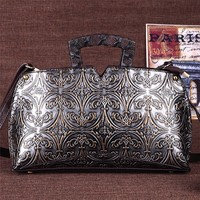 Brand Top Quality Dermis Women Bag Retro Wind Embossment Messenger Bag Middle Aged Women S Handbag