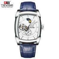 Tevise Men Luxury Mechanical Watches Man Self Wind Automatic Watch Tonneau Dial Moon Phase Luminous Wristwatch Montre Homme T802