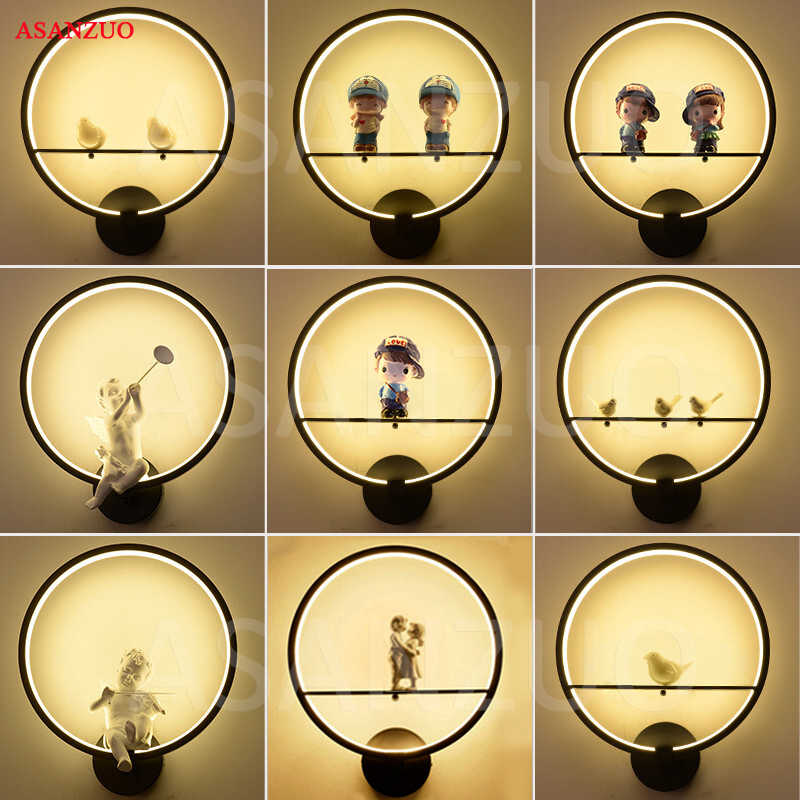 Modern Black Creative LED Wall Lamps for Bedroom Living Room Corridor Light Birds Angel Lovers Decoration Aluminum Wall Light