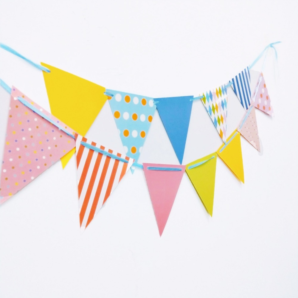 1pc set Colour Graduation Party Pennant Bunting Birthday Party Flag Banners Kids Adult Birthday Party Supplies Decoration flag in Banners Streamers Confetti from Home Garden