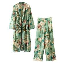 NiceMix Set female 2019 summer new Japanese temperament fashion long kimono + high waist wide leg pants elegant thin suit
