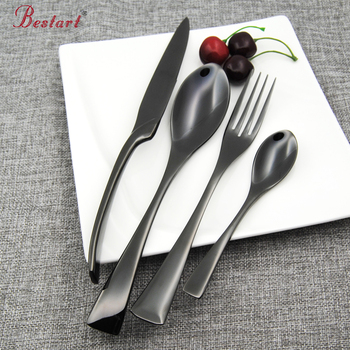 Top Quality Black Flatware 18 8 304 Stainless Steel 24 piece Cutlery Set Silverware Knife Salad