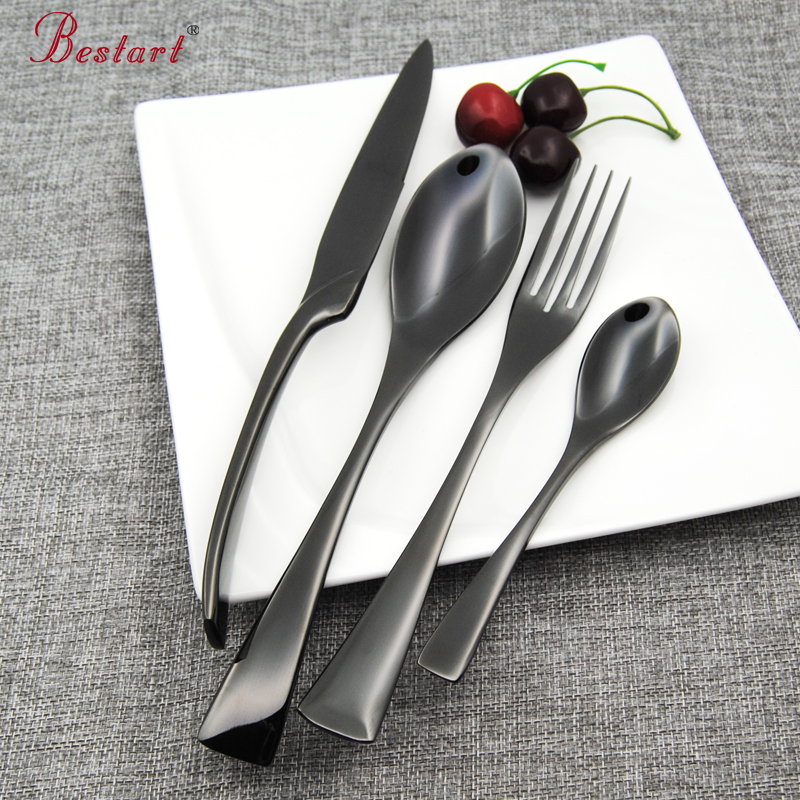 Top Quality Black Flatware 18 8 304 Stainless Steel 24 piece Cutlery Set Silverware Knife font