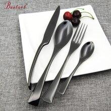 Top Quality Black Flatware 18/8(304)Stainless Steel 24 piece Cutlery Set Silverware Knife Salad Spoon Fork Teaspoon Dinnerware