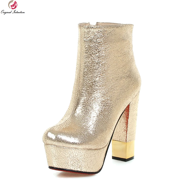 Original Intention Fashion Women Boots Round Toe Chunky Heels Boots Black  White Red Gold Silver Ladies Shoes Woman Size 3-10.5 6cdd345a7f0c