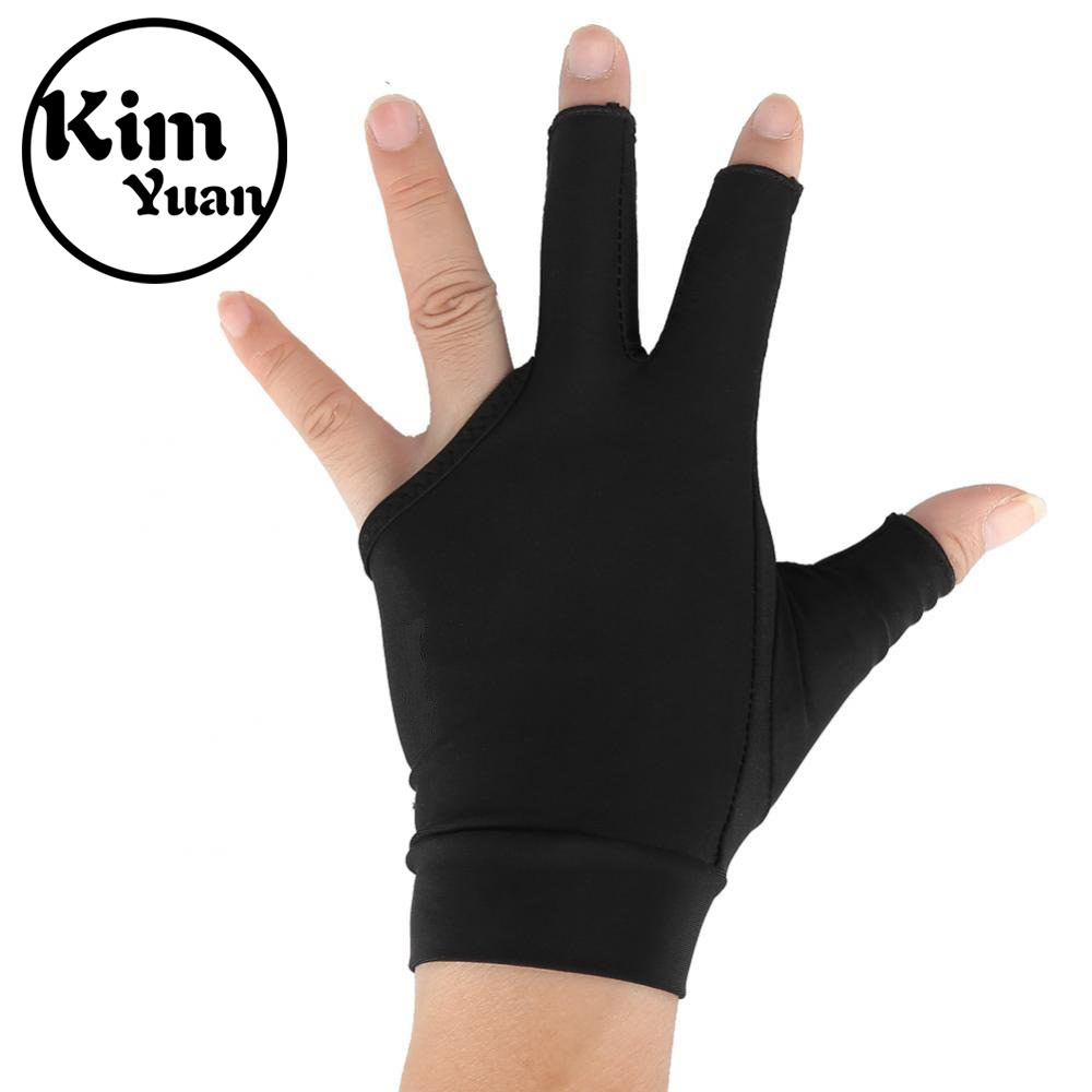 KIM YUAN Adults 3-Finger Snooker Pool Cue Glove Billiards Shooters Glove For Men Women Barber Hairdressing Three Fingers Glove