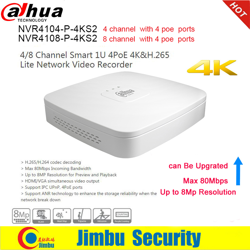 Dahua NVR NVR4104 P 4KS2 NVR4108 P 4KS2 4 PoE Ports Video Recorder 4Ch 8CH Smart