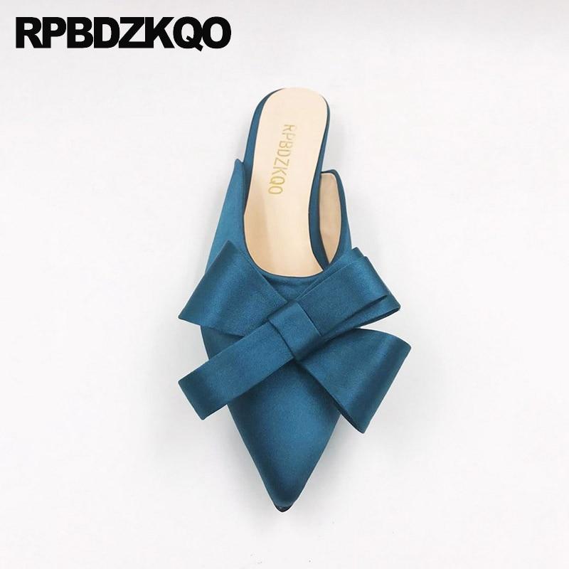 Mules Satin 2017 Pointu peacock Pantoufles Arc Bleu 12 Black nude Grande Belle Marine Personnalisé Taille Bout Appartements 13 Chaussures Mignon 44 Sandales Dames Femmes hrsdtQ