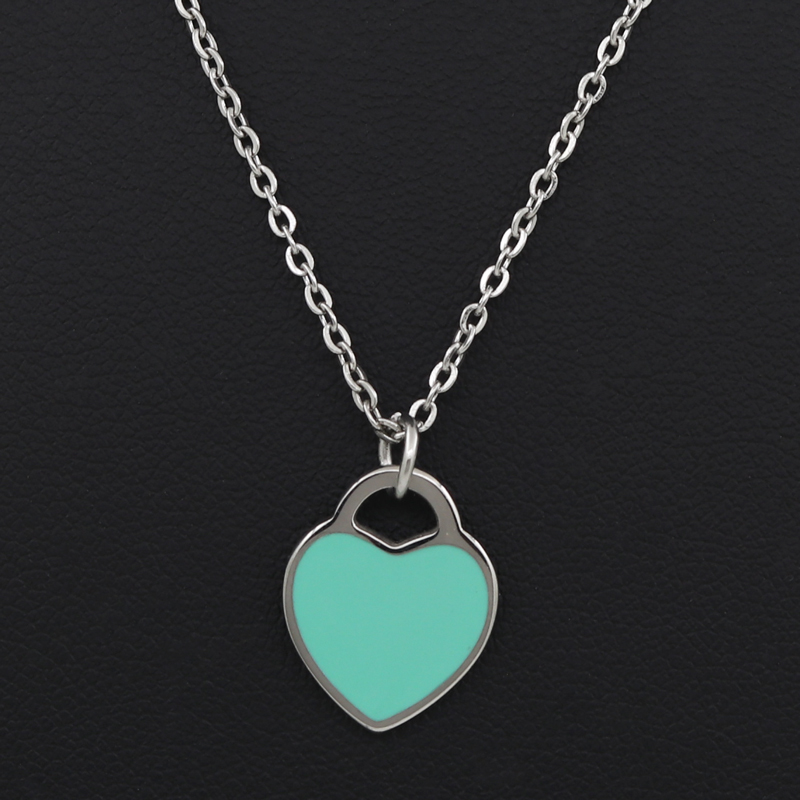 Luxury Brand Enamel Jewelry Women Gift Gold/Rose Gold Silver Colour Choker Chain Stainless Steel Heart Necklaces Pendants