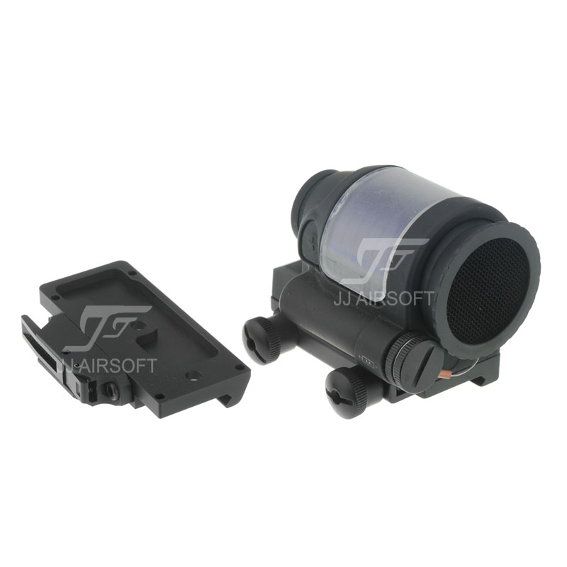 JJ Airsoft SRS 1x38 Red Dot with Killflash / Kill Flash (Solar cell assisted) & QD / Quick Release Mount AC32002 (Black/Tan) jj airsoft t1 t 1 red dot 45 degree offset mount qd mount and low mount tan
