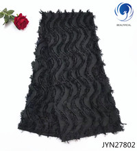 BEAUTIFICAL Nigerian lace fabrics Black 3d chiffon net fabric with long wool 2018 New arrival nigerian style JYN278