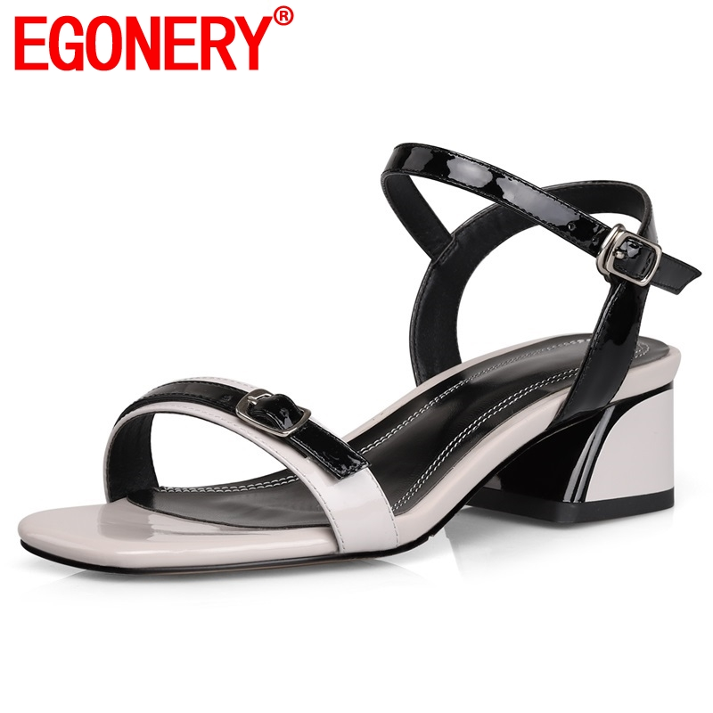 EGONERY shoes woman summer new fashion mixed colors genuine leather woman sandals outside med square heel