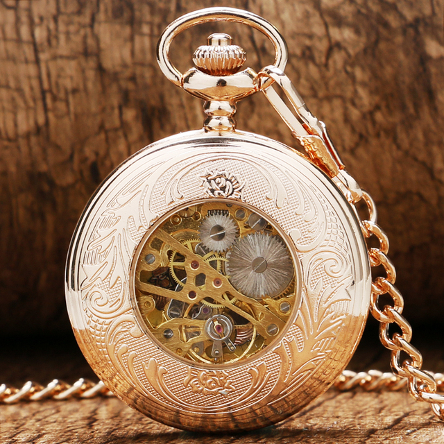 2 Design Rose Gold Mechanical Pocket Watch Hand Winding Watches Transparent Case Men Women Pendant Fob Chain Reloj De Bolsillo