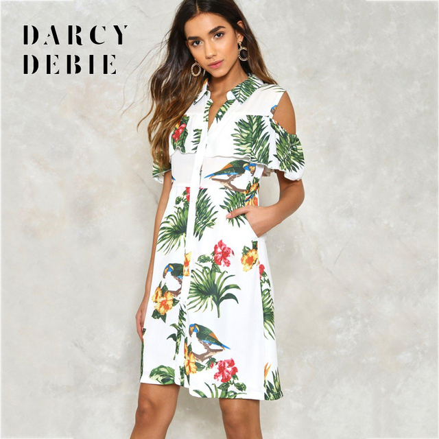 Darcydebie Europe and the United States women s fashion sexy  off-the-shoulder wave rainforest printed shirt dress caf96f3e2c04
