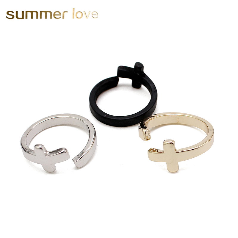 Trendy Opening Cross Rings For Women Girl Femme Jewelry Anillos Bague gift Gold/Silver/Black Colors Knuckle Finger Ring Size 7