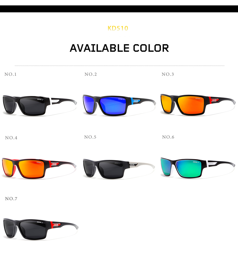 Sport Sunglasses Men Polarized Sun Glasses Windproof Goggles Women Polaroid HD lens With Box lentes de sol KDEAM 7 colors UV400