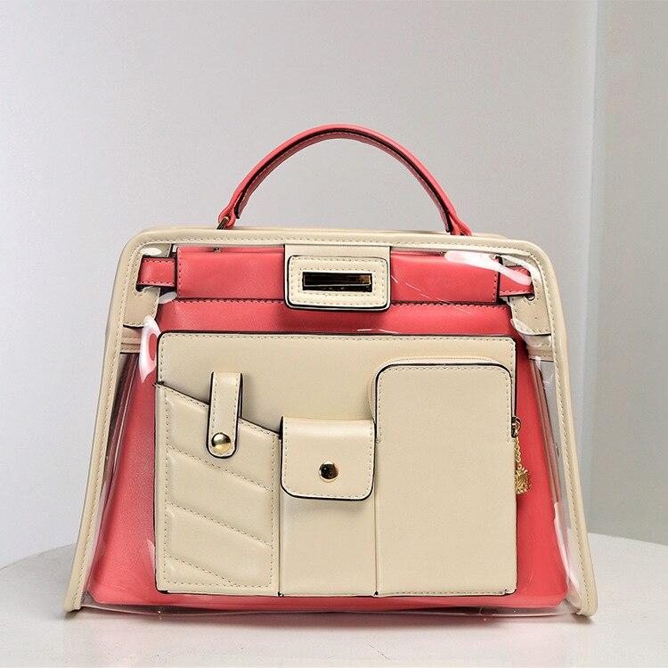 Nouvelle mode dame sacs transparents sac à main Explosion européenne et américaine Multi poche Double sac haute qualité offre spéciale Pu grand