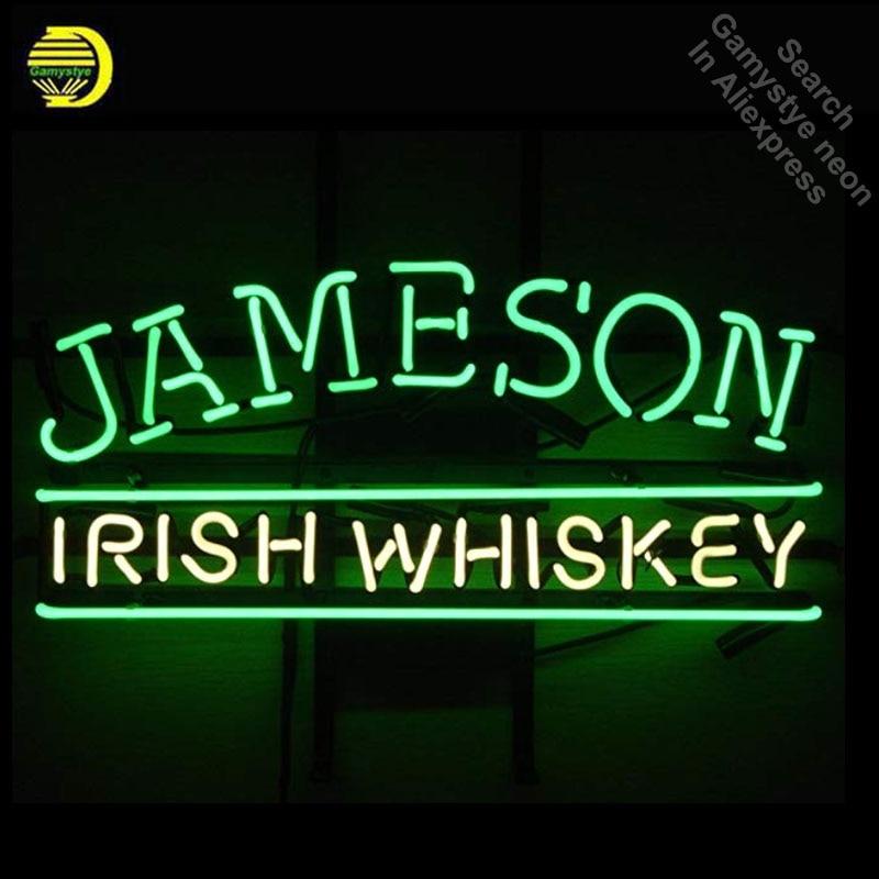 neon sign bar jameson whiskey beer irish pub custom hotel light signs handcrafted lights wanelo