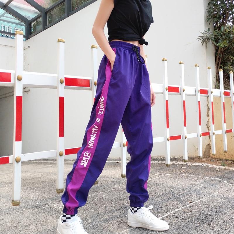 New Fashion High waist Pants loose joggers women Purple harem camo streetwear punk cargo pants Hip-Hop cool girl capris trousers