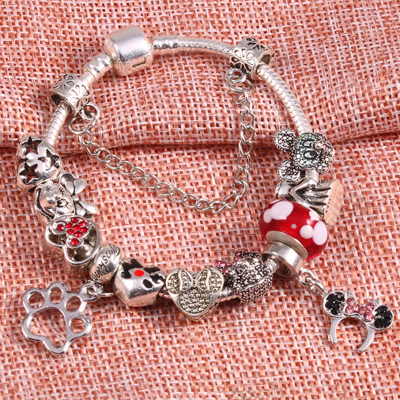 Baopon High Quality European Style Crystal Mickey Beads Charm