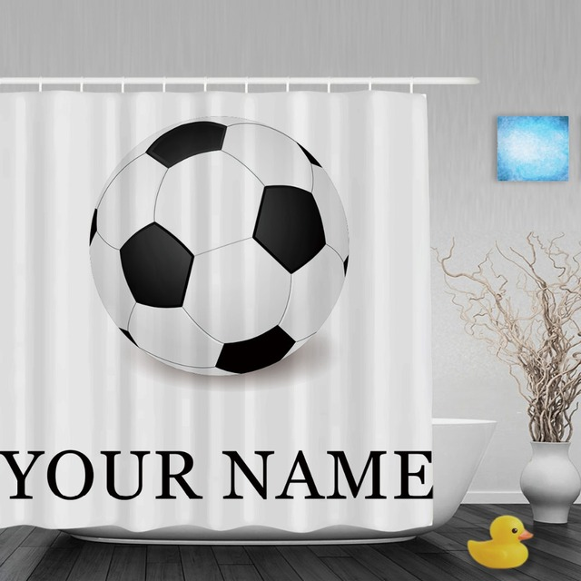Personalize Soccer Shower Curtain Customize Your Text Sport Bathroom Curtains Polyester Fabric With Hooks