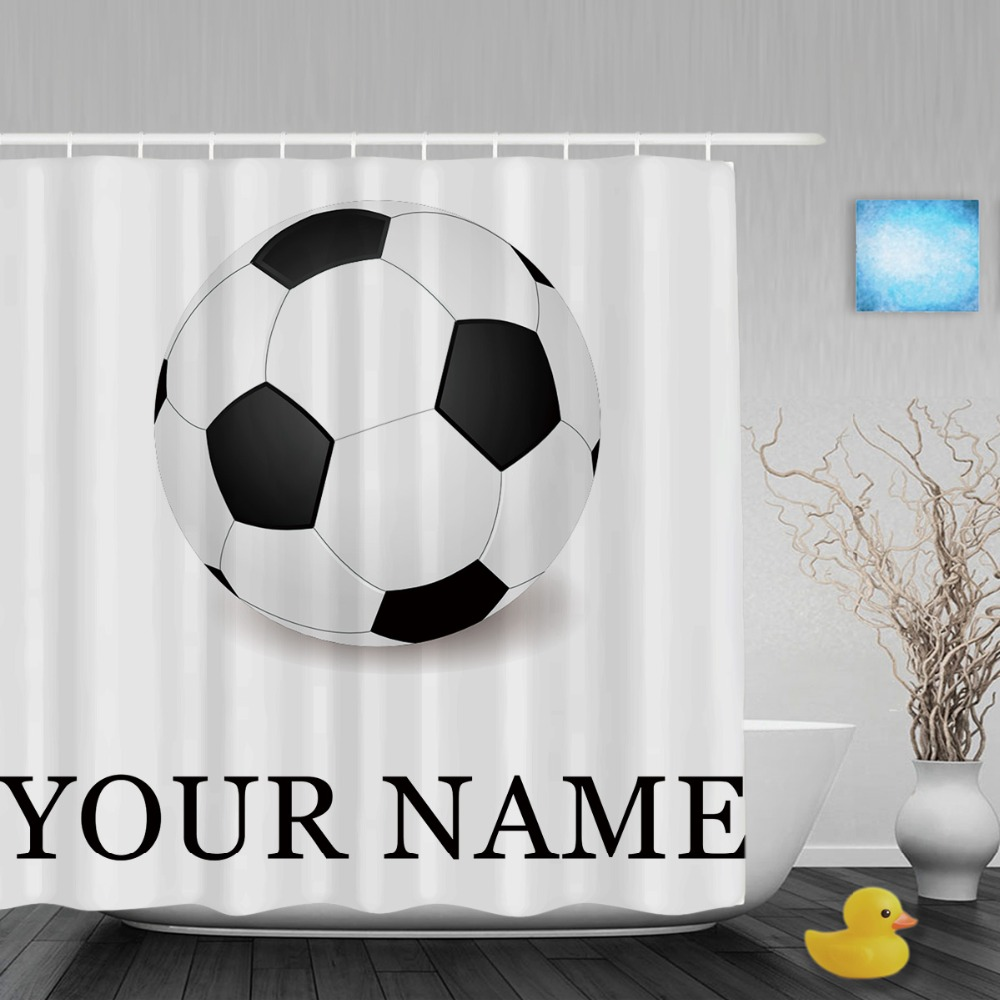 Personalize Soccer Shower Curtain Customize Your Text Sport Bathroom Shower  Curtains Polyester Fabric With Hooks