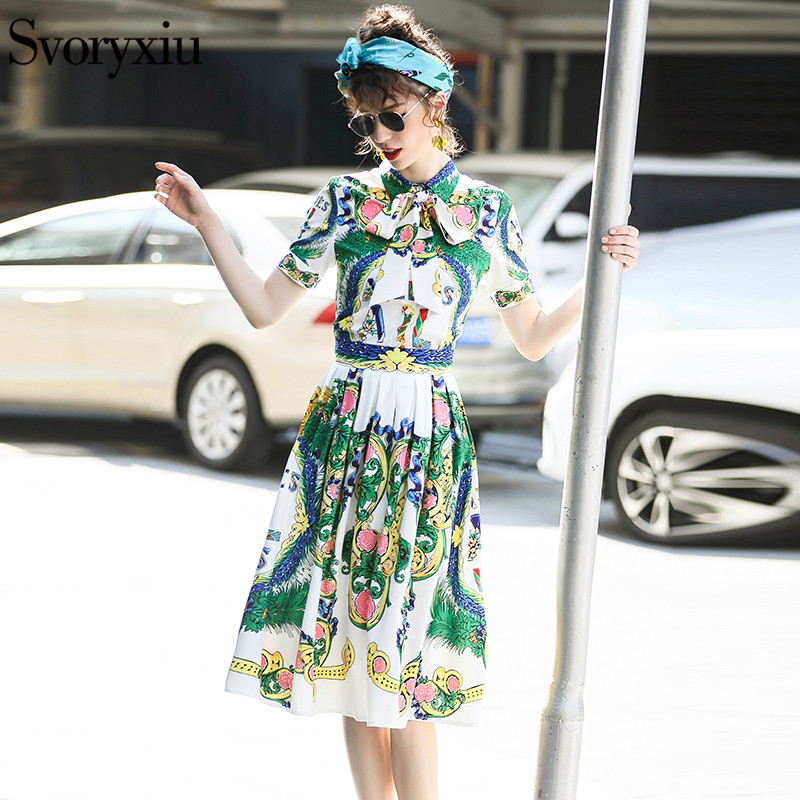 5b864829d6f Svoryxiu Designer Brands Summer Skirt Suit Women s Short Sleeve Printed  Ribbons Blouse + Pleated Half Skirt Two Piece Set -in Women s Sets from  Women s ...