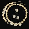 Grande Casamento Nigeriano Beads Africanos Conjuntos de Jóias de Cristal Design de Moda Dubai Banhado A Ouro Conjuntos de Jóias Para As Mulheres Traje