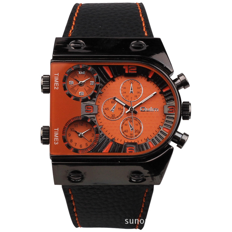 Brand Oulm Watch Quartz Sports Men Leather Strap Watches Fashion Male Military Wristwatch Running Cool Relojioes Clock Masculino