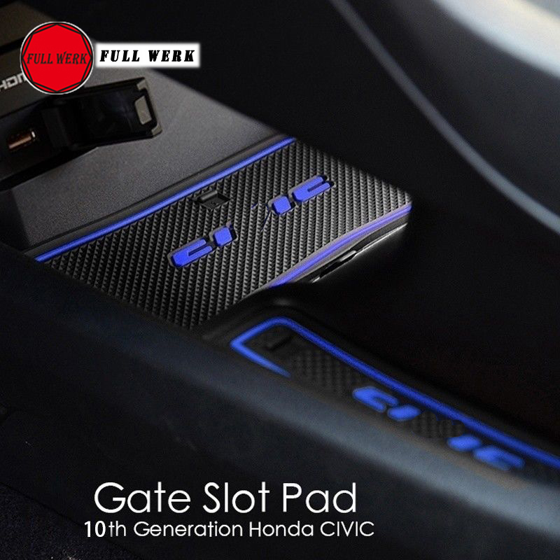 16pcs set Silica Gel Car Door Groove Mat for Honda 10th Generation Civic Anti Slip Cup Mat Pad Protector Interior Accessories