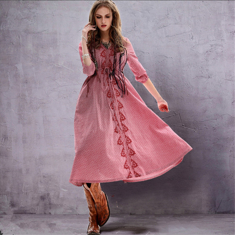 Vintage Elegant Women Dress Tunic Cotton Linen Dress Women V Neck Flower Embroidery Dresses Vestidos Femininos Vintage Dresses
