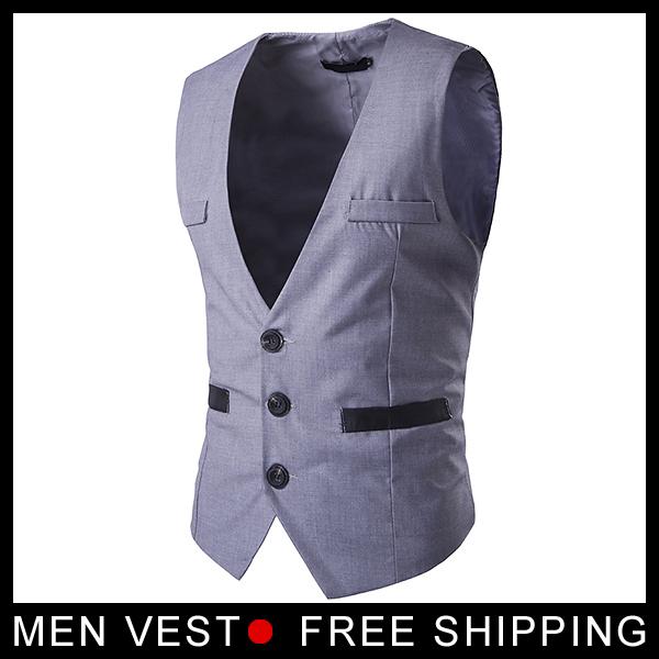De alta calidad Para Hombre vestido Formal chalecos Ocio Slim Fit Chaleco de Bolsillo de Diseño Botón Chaleco Negro gris Caballero chaleco traje de hombre