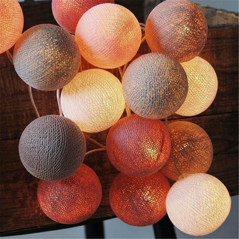 Christmas Hangings 20 Cotton Ball LED Sting Light Decorative Lighting For Christmas Birthday Party Decals LED String Lights