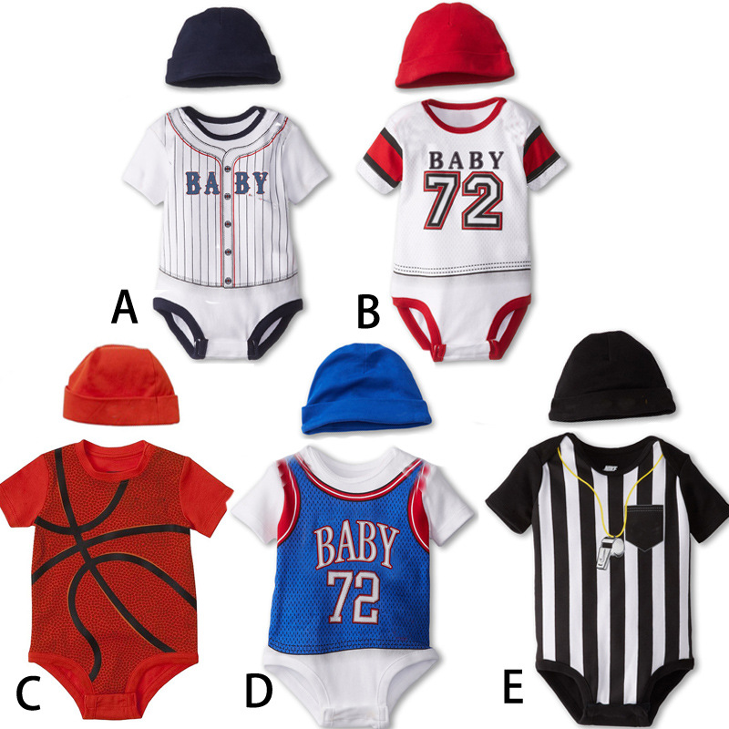 Baby Boys Bodysuits Baby bodys+Baby Hat 2 pieces Cotton Clothes For Little boy Short Sleeves New Born Baby Boy Sports Ropa