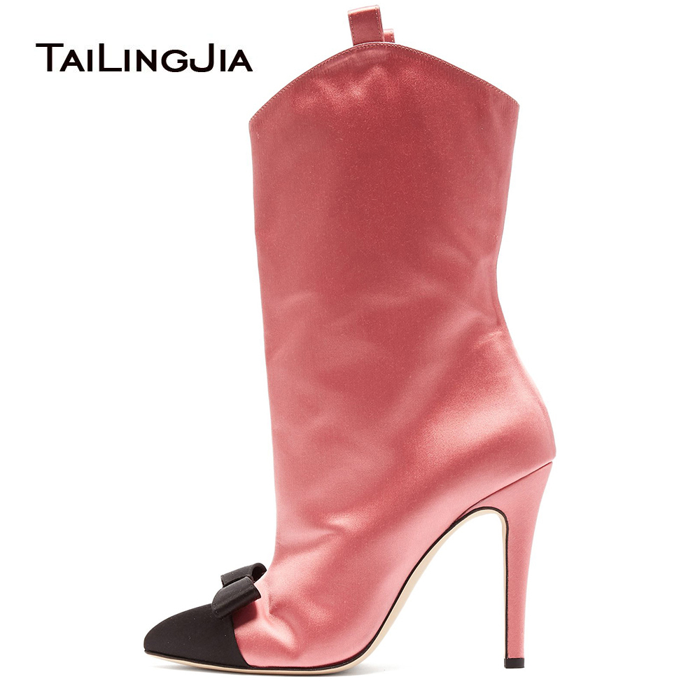 Stylish Pointed Toe High Heel Booties Women Pink Satin Ankle Boots Ladies Curved Top Black Short Boots Stiletto Heel Red Shoes in Ankle Boots from Shoes