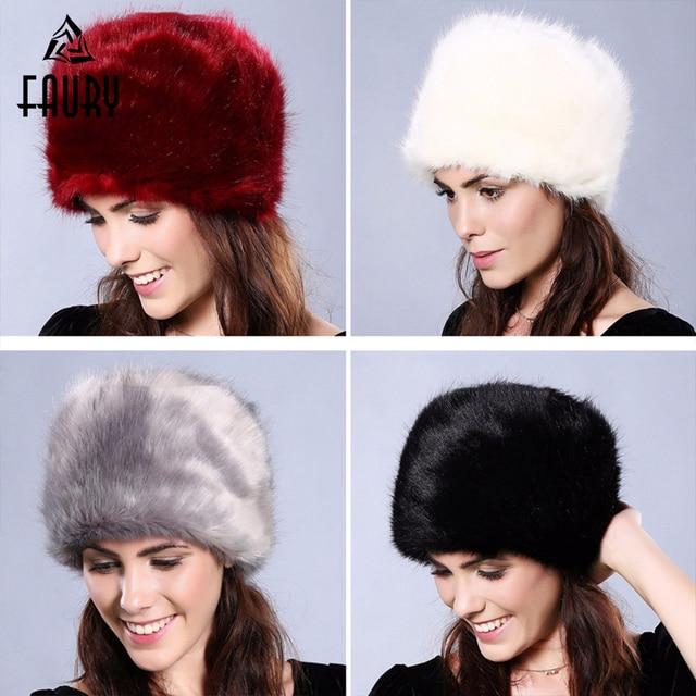 45e33f18b7a Fashion Women Lady Faux Fur Cossack Style Russian Winter Soft Ski Hats Warm  Round Flat Cap