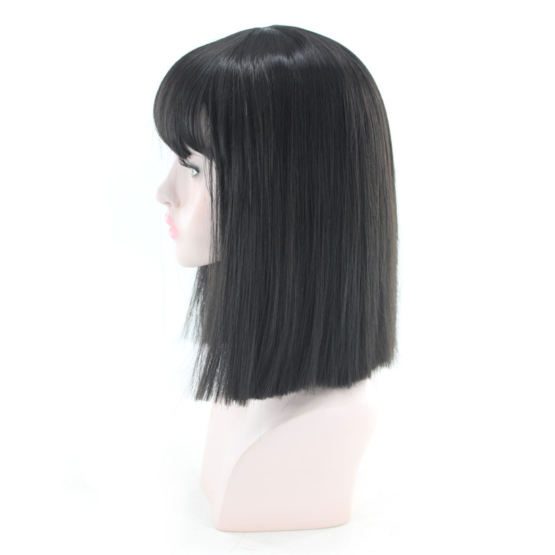 sintética, cabelo de alta temperatura com franja