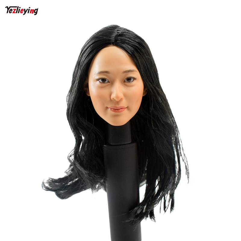 Toys & Hobbies 1/6 Scale Female KUMIK Head Sculpt Carving KM 16-28A Black Long Hair Model 12 PH Hot Sideshow Toys TTL HT Body 2015 hot dam toys armed police military equipment set include head sculpt and body christmas gift collectibles model toys
