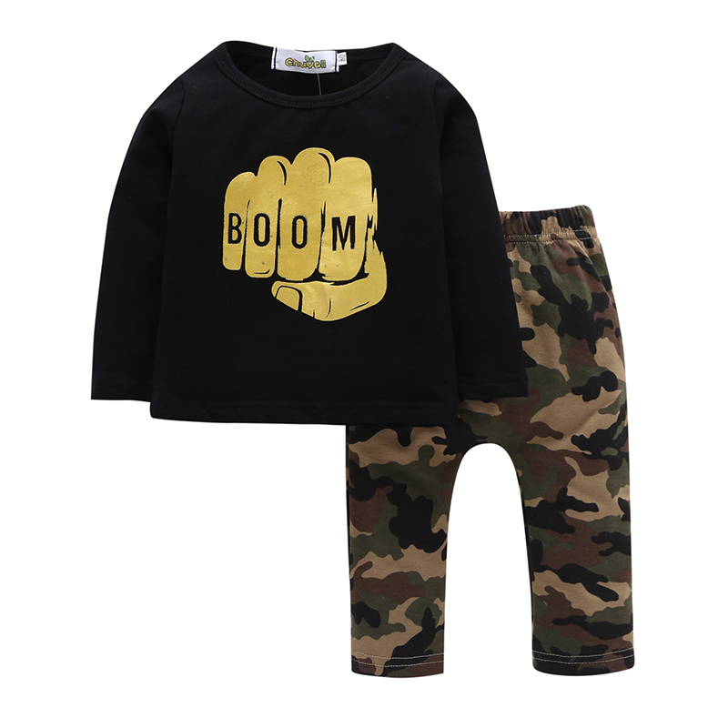 2Pcs Spring Autumn Casual Toddler Boys Sets Black Fist Long Sleeve Cotton T-shirt + Camouflage Pants Baby Clothes Sets мужские ботинки spring autumn hightop size38 45 2