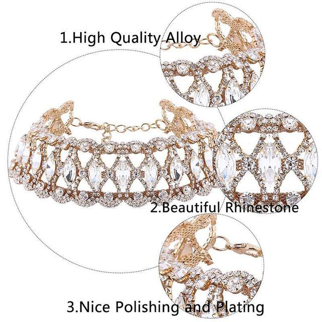 Fashion Luxury Full Big Rhinestone choker Crystal statement necklace Women Chockers Chunky Necklace Collier Wedding jewellery 3