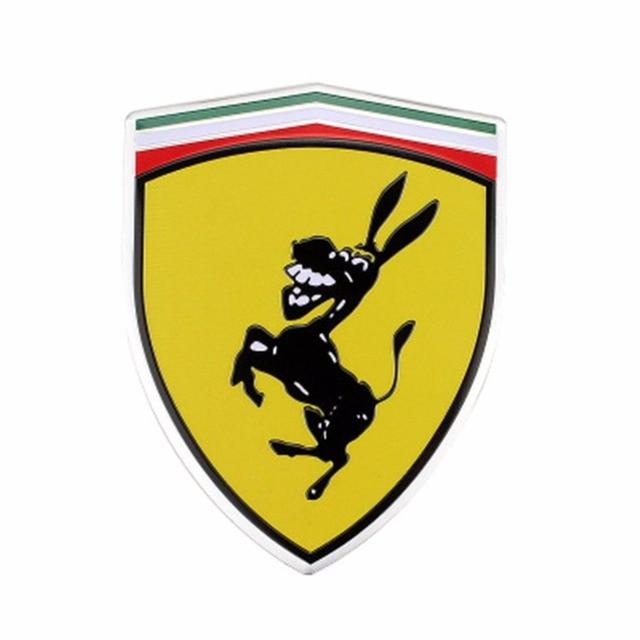 2pcs aluminum creative funny humor spoof kuso prank sticker for ferrari donkey logo emblem badge. Black Bedroom Furniture Sets. Home Design Ideas