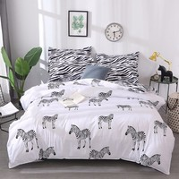 Lovely Zebra Patter Skin friendly Cotton 3/4 Piece Suit Bedding Set Duvet Cover Bed Sheet Pillowcase Twin Queen King Size