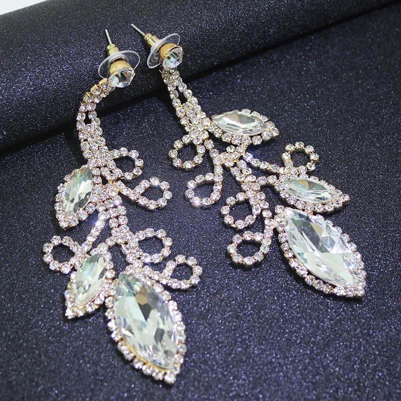 Dubbele schudden Crystal Flowe grote lange oorbellen opknoping pave - Feestversiering en feestartikelen - Foto 3