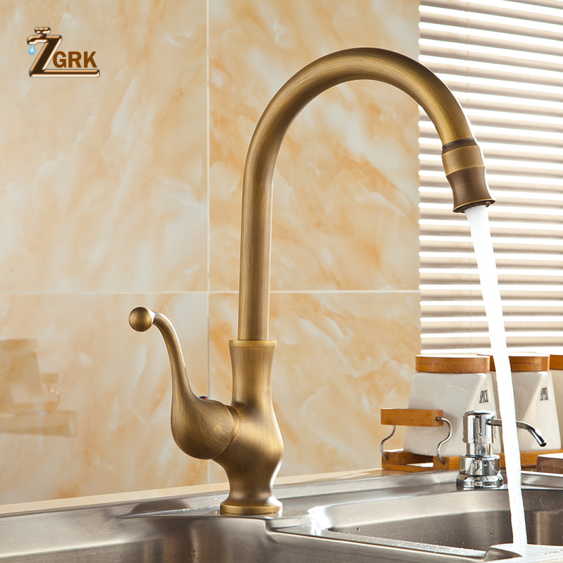 ZGRK Bathroom Faucet antique brass water tap Kitchen Single Hole Handle Swivel 360 Design Mixer Taps Basin Sink tap antique crystal kitchen faucet solid brass brushed basin facuets swivel single handle hole sink mixer water taps deck mounted
