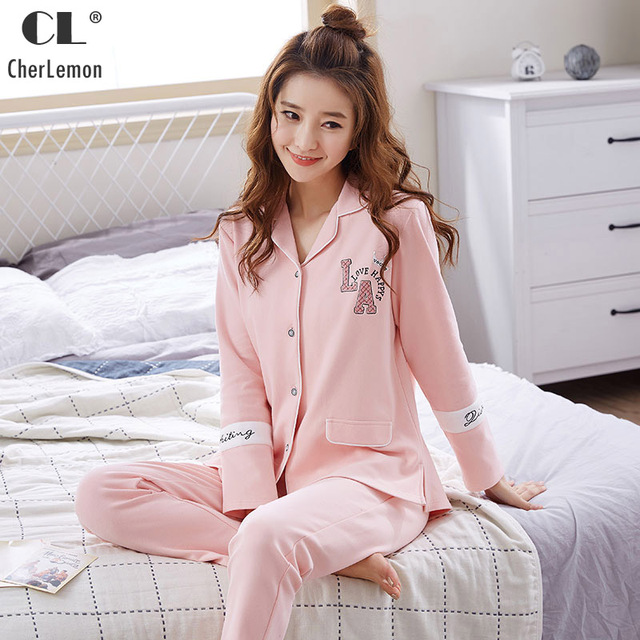 7b782bc3d40c CherLemon Spring New 100% Cotton Soft Cozy Pajama Set Womens Button Front  Long Sleepwear Beautiful