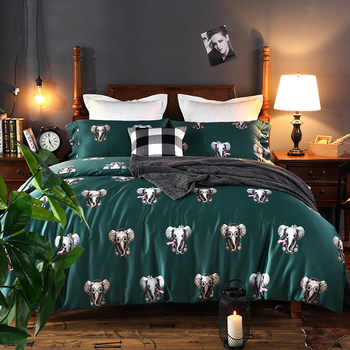 Egyptian cotton Reactive Printing elephant swan  Bedding Sets Bed Sheet Queen King size 4pcs