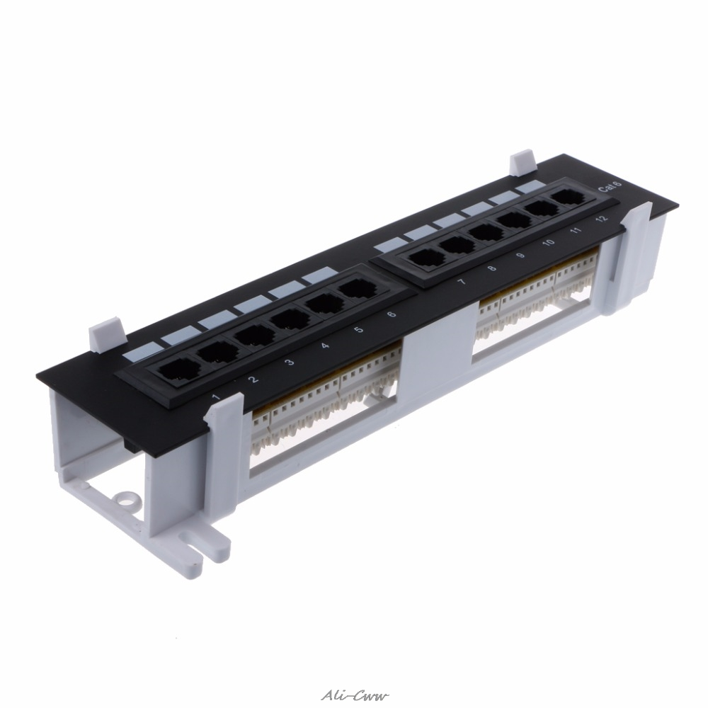 12 Ports Ethernet LAN Network Adapter CAT6 Patch Panel RJ45 Networking Wall Mount Rack Mount Bracket Network Tools