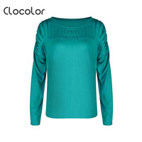 Clocolor Women T Shirt Round Neck Long Sleeve Loose Fashion Top Solid Green 2018 Casual Summer
